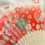 Kimono fan (sensu / ougi) พัดญี่ปุ่นลายกระต่ายกลางทุ่งดอกไม้ สีแดงอมส้ม thumbnail 2