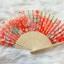 Kimono fan (sensu / ougi) พัดญี่ปุ่นลายกระต่ายกลางทุ่งดอกไม้ สีแดงอมส้ม thumbnail 1