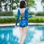 [Free size] ชุดว่ายน้ำวันพีชแขนยาว รุ่น Kanya สีน้ำเงินลายกราฟิก thumbnail 5