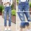 OW5809002 เอี๊ยมกางเกงยีนส์เกาหลี ขา 8 ส่วน ทรงหลวม (พรีออเดอร์) รอ 3 อาทิตย์หลังโอน thumbnail 1