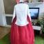 """Royal Hanbok แบบชาววัง (ทังอี) สีขาวครีม กระโปรงสีแดงปักมือ อก 38"""" thumbnail 7"""