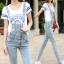 OW5707010 เอี้ยมยีนส์ สาวหวานซ่อนเปรี้ยว ขายาว คาบอย แฟชั่นเกาหลี (พรีออเดอร์) รอสินค้า 3 อาทิตย์หลังโอนเงิน thumbnail 1