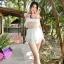[Size:S,M] ชุดว่ายน้ำ บิกินี่ ทูพีช บราและกางเกงปิดด้วยระบายเน็ตติ้ง ซีทรู มีสองสีขาวและดำ thumbnail 6