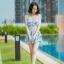 [Free size] ชุดว่ายน้ำทูพีชสายเดี่ยว รุ่น My Dear สีฟ้าลายขนนก thumbnail 2
