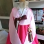 Hanbok เกรด A+++ ผ้าไหมเกาหลี รุ่น Pink Je t'aime#02 โบว์สองสี size M. thumbnail 2