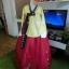 Princess Hanbok แบบชาววัง (ทังอี) สีเหลืองปั๊มเงิน กระโปรงปักมือดิ้นเงิน thumbnail 1