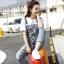 OW6005001 กางเกงยีนส์เอี้ยมทำเก่าขาตรงแฟชั่นเกาหลี (พรีออเดอร์) thumbnail 3