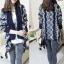 QW5710009 เสื้อคลุมกันหนาวเกาหลี ไหมถัก วินเทจ ตัวยาว (พรีออเดอร์) รอ 3 อาทิตย์หลังโอนเงิน thumbnail 1