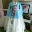 Royal Hanbok ฮันบกชาววัง ไหมเกาหลีสีฟ้าขาว สวยหรู thumbnail 1