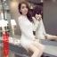 RP5911006 เดรสลูกไม้สีขาว สีดำเกาหลีสวยหวาน คอกลมแขนยาว (พรีออเดอร์) thumbnail 5