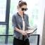 FW6007002 เสื้อแจ็กเก็ตยีนส์เกาหลีแขนยาวคอจีนขอบดำหลังพิมพ์อักษรอังกฤษ (พรีออเดอร์) thumbnail 3