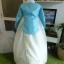 Royal Hanbok ฮันบกชาววัง ไหมเกาหลีสีฟ้าขาว สวยหรู thumbnail 7