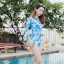[Free size] ชุดว่ายน้ำวันพีชแขนยาวเว้าหลัง รุ่น Sofia สีฟ้าลายกราฟิก thumbnail 3