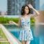 [Free size] ชุดว่ายน้ำทูพีชสายเดี่ยว รุ่น My Dear สีฟ้าลายขนนก thumbnail 4