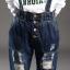 OW6006002 เอี้ยมกางเกงยีนส์เกาหลีขายาวปลายขาจั้มทรงหลวม thumbnail 2