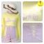 [Size S,M] Birkin ชุดว่ายน้ำแขนยาว แนว Sport สีเหลือง thumbnail 4