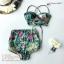 [Size S,M] ชุดว่ายน้ำทูพีช บราถักหลังลายดอกกุลาบเขียว ผ้ามันเงา กางเกงเอวสูง thumbnail 4