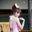 (Free Size) ชุดว่ายน้ำ ทูพีช บราเป็นแบบตะขอหลัง สีม่วงอ่อน กางเกงกระโปรงสีม่วงอ่อน ชุดว่ายน้ำ คอโบว์ thumbnail 3