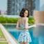 [Free size] ชุดว่ายน้ำทูพีชสายเดี่ยว รุ่น My Dear สีกาแลกซี่ thumbnail 5