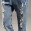 OW5905003 เอี้ยมกางเกงยีนส์ 5 ส่วน แฟชั่นเกาหลี ทรงหลวมขาดเซอร์ (พรีออเดอร์) thumbnail 4
