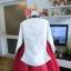 """Royal Hanbok แบบชาววัง (ทังอี) สีขาวครีม กระโปรงสีแดงปักมือ อก 38"""" thumbnail 8"""