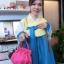 Korean hanbok handbag กระเป๋าถือฮันบกสีชมพู ผ้าไหม thumbnail 5