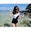 [Size S,M] ชุดว่ายน้ำ วันพีช ปาดไหล่สีขาวดำ thumbnail 1