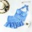 (free size) ชุดว่ายน้ำ ทูพีช ลายสก็อตสีฟ้า บราเป็นแบบสวมเต็มตัวไม่โป้ กระโปรงสก็อตสีฟ้า thumbnail 1