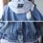 FW6008024 เสื้อแจ็กเก็ตยีนส์เกาหลีตัวสั้นแขนยาวมีฮูดงานคุณภาพพรีเมี่ยมสวยแน่นอน (พรีออเดอร์) รอ3 อาทิตย์หลังโอนเงิน thumbnail 6