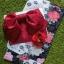 ํYukata กิโมโนฤดูร้อน ลายดอกไม้สีม่วงแดง พิมพ์ทอง thumbnail 1