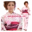 Summer kimono กิโมโนฤดูร้อน (Yukata) Spring Flower ซากูระสีชมพู รุ่น 3 เซต 6 ชิ้น thumbnail 1