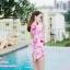 [Free size] ชุดว่ายน้ำวันพีชแขนยาวเว้าหลัง รุ่น Sofia สีชมพูลายกราฟิก thumbnail 6