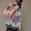 KW5912001 เสื้อแจ๊กเก็ตเบสบอลพิมพ์ลายดอกไม้ผีเสื้อสีชมพูหวานยุโรป (พรีออเดอร์) thumbnail 2