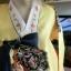 Princess Hanbok แบบชาววัง (ทังอี) สีเหลืองทอง ตัดแดง สวยอลังการ thumbnail 3