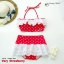 (free size) ชุดว่ายน้ำ ทูพีช มีระบายลูกไม้น่ารัก สีแดงลายจุด ผูกหลัง กระโปรงสีแดง ลายจุด บิกินี่-Very-Strawberry thumbnail 1