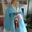 Royal Hanbok ฮันบกชาววัง ไหมเกาหลีสีฟ้าขาว สวยหรู thumbnail 3