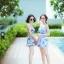 [Free size] ชุดว่ายน้ำทูพีชสายเดี่ยว รุ่น My Dear สีกาแลกซี่ thumbnail 3