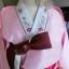 Hanbok เกรด A+++ ผ้าไหมเกาหลี รุ่น Pink Je t'aime#02 โบว์สองสี size M. thumbnail 3