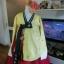 Princess Hanbok แบบชาววัง (ทังอี) สีเหลืองปั๊มเงิน กระโปรงปักมือดิ้นเงิน thumbnail 2