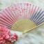 Kimono fan (sensu / ougi) พัดญี่ปุ่นสีชมพูม่วง ลายกลีบซากูระ thumbnail 1