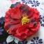ํYukata กิโมโนฤดูร้อน ลายดอกไม้สีม่วงแดง พิมพ์ทอง thumbnail 4