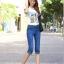 JH5903003 กางเกงยีนส์ สไตร์สาวเกาหลี ขา 5 ส่วน สียีนส์ (พร้อมส่ง) thumbnail 3