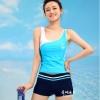 ชุดว่ายน้ำ แบบสปอร์ต กางเกงขาสั้น เสื้อกล้าม สีฟ้า Big Size