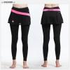 กางเกงกระโปรงปั่นจักรยานขายาวผู้หญิง SOUKE สีชมพู ผ้ากำมะหยี่ : SKT0302