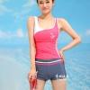ชุดว่ายน้ำ แบบสปอร์ต กางเกงขาสั้น เสื้อกล้าม สีชมพู Big Size