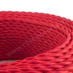 สายไฟวินเทจ ถักเกลียวคู่ สีแดง(Red)