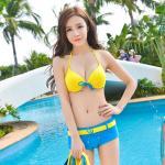 ชุดว่ายน้ำ บิกินี่เซ็ท 3 ชิ้น เสื้อแขนยาว สีเหลือง size XL