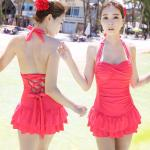 ชุดว่ายน้ำวินเทจ แบบวันพีช แบบกระโปรง ผูกหลัง ปรับสายได้ Pink Size M