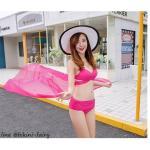 ชุดว่ายน้ำ บิกินี่ ทูพีช บราสายไขว้+ผ้าคลุม สีชมพู size XL