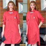 "NR729**สีแดง**รอบอก 44"" CC-OO 10th Aniversary With Premium Korea Cotton Shirtdress"